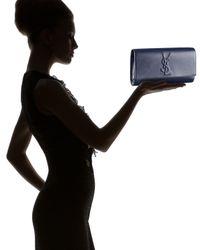 Saint Laurent | Blue Belle Du Jour Leather Clutch | Lyst