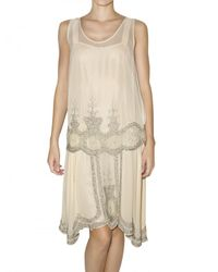 Mes Demoiselles | Natural Embroidered Two Piece Georgette Dress | Lyst