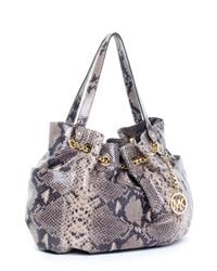 Michael Kors | Black Jet Set Python-embossed Chain Ring Tote, Dark Sand | Lyst