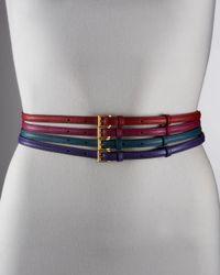 Prada | Multicolor Saffiano Skinny Belt | Lyst