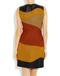 Proenza Schouler | Brown Leather and Woven Tweed Dress | Lyst