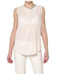 Space | Pink Embroidered Jewel Georgette Top | Lyst