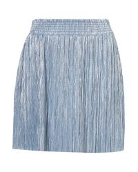 TOPSHOP | Blue Short Metallic Pleat Skirt | Lyst
