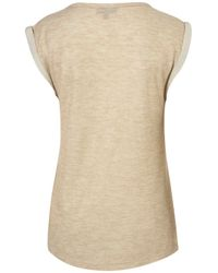 TOPSHOP - Natural Double Layer Tank - Lyst