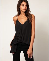 ASOS Collection - Black Asos Tie Waist Asymmetric Cami - Lyst