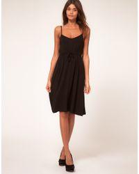 ASOS Collection | Black Asos Petite Midi Summer Dress with Tie Waist | Lyst