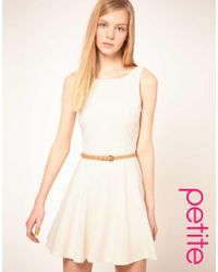 ASOS Collection | Natural Asos Petite Skater Dress with Low Bow Back | Lyst