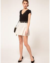 ASOS Collection | Natural Asos Ponti Mini Skirt with Belt | Lyst