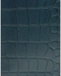 ASOS   Blue Croc Embossed Leather Porfolio Clutch   Lyst
