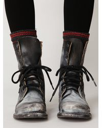 Free People | Black Painted Distress Boot | Lyst