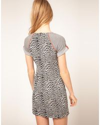 French Connection | Gray Dress With Leopard Print Body | Lyst