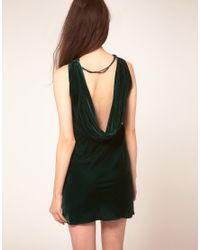 House of Dagmar | Green Dagmar Velvet Dress With Low Draped Back | Lyst