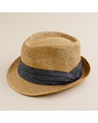 J.Crew | Brown Straw Chambray Trilby Hat for Men | Lyst
