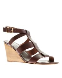 J.Crew | Brown Olympia Leather Wedges | Lyst
