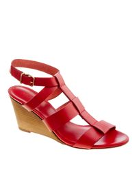 J.Crew | Red Olympia Leather Wedges | Lyst