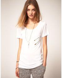 LNA | White Lna Short Sleeve Double Zip Pocket Tee | Lyst