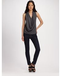Maggie Ward - Gray Drapedfront Top - Lyst