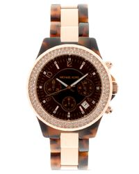 Michael Kors | Brown Two Tone Tortoiseshell Chronograph Watch | Lyst