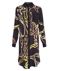Proenza Schouler | Yellow Abstract Print Silk Shirt Dress | Lyst