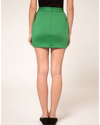 ASOS | Green Mini Skirt With Pleats | Lyst