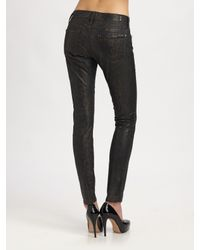 7 For All Mankind | Metallic Skinny Snake-print Jeans | Lyst