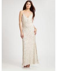 Aidan Mattox | Beige Sequined Gown | Lyst