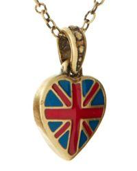 Cath Kidston - Metallic Antique Brass Tiny Union Jack Heart Pendant Necklace - Lyst
