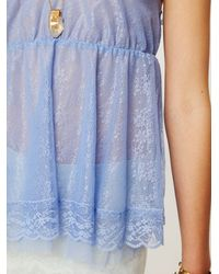 Free People - Blue All Over Lace Babydoll Top - Lyst
