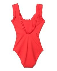 Lanvin - Red Scoop-back Swimsuit - Lyst
