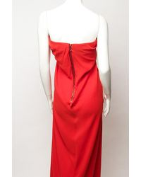 Lanvin | Red Strapless Drape Gown | Lyst