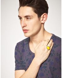 ASOS - Yellow Stone Insert Ring for Men - Lyst