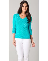Rag & Bone | Green Eyelet Long Sleeve Sweater | Lyst