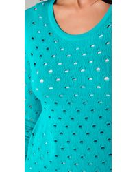 Rag & Bone - Green Eyelet Long Sleeve Sweater - Lyst