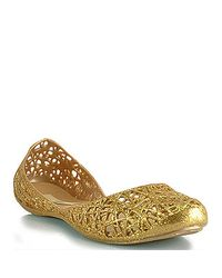 Melissa - Metallic Campana - Gold Mutli-Colored Glitter Jelly Cutout Flat - Lyst