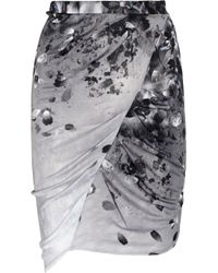 Aminaka Wilmont | Gray Printed Draped Satin-jersey Skirt | Lyst
