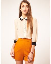ASOS Collection | Natural Asos Blouse with Double Collar | Lyst