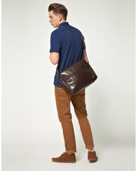 Fred Perry - Brown Messenger Bag With Check Embossing for Men - Lyst