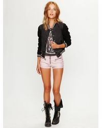 Free People - Pink Washed Vegan Leather Shorts - Lyst