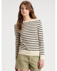 A.P.C. | Brown Striped Crewneck Sweater | Lyst