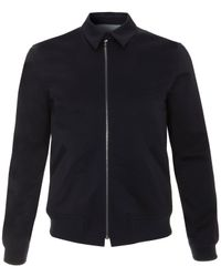 A.P.C. - Blue Navy Pointed Collar Zipped Bomber Jacket for Men - Lyst
