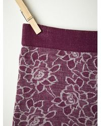 Free People - Purple Intarsia Floral Boyshort - Lyst