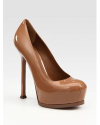 Saint Laurent | Brown Ysl Trib Too Patent Leather Pumps | Lyst
