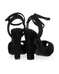 Ralph Lauren Collection - Black Kaleigh Suede and Cord Sandals - Lyst