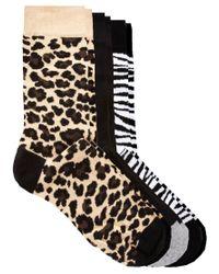 River Island - Black 3 Pack Animal Print Socks for Men - Lyst
