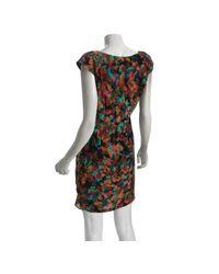 Shoshanna - Brown Silk La Dolce Vita Pleated Front Dress - Lyst