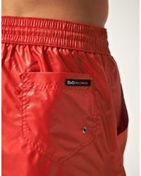 Dolce & Gabbana - Red D&g Plain Swim Short for Men - Lyst