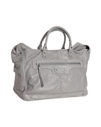 Balenciaga   Gray Grey Distressed Lambskin Convertible Travel Bag for Men   Lyst