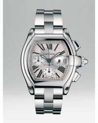 Cartier | Metallic Roadster Chronograph Stainless Steel Watch On Bracelet/interchangeable Strap, Extra Large | Lyst