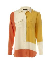 French Connection   Multicolor Bric-a-block Silk Shirt   Lyst