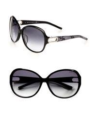 Jimmy Choo | Black Snake-print Accented Plastic Rectangular Sunglasses | Lyst